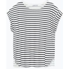 ROUND NECK T - SHIRT - Short Sleeve - T - shirts - WOMAN | ZARA United... (37 CAD) ❤ liked on Polyvore featuring tops, t-shirts, white t shirts, white short sleeve top, short sleeve t shirts, round neck top and round neck t shirt