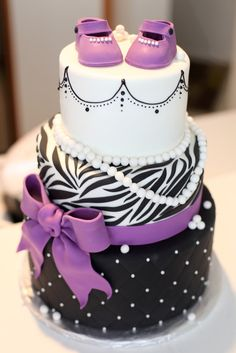 We'll help you choose the best baby shower cake for your party based on your style. These unique baby shower cake ideas will take desert to the next level. Baby Cakes, Baby Shower Cakes, Pretty Cakes, Cute Cakes, Beautiful Cakes, Amazing Cakes, Baby Shower Purple, Purple Baby, Purple Zebra
