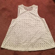 Madewell white eyelet top Beautiful eyelet top! Perfect for summer with a bandeau under. No tags but never has been worn! Madewell Tops Tank Tops