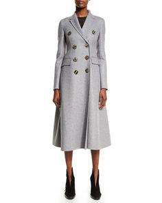 B31L4 Burberry Prorsum Double-Breasted Cashmere Long Coat, Light Gray Melange
