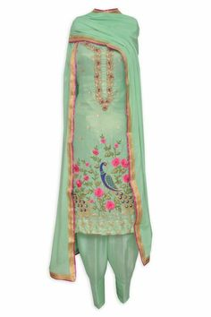 Appealing pistachio green unstitched suit adorn in peacock hand embroidery-Mohan's the chic window Patiala Salwar Suits, Indian Salwar Suit, Indian Suits, Churidar, Kurti, Indian Party Wear, Indian Wear, Embroidery Suits Design, Hand Embroidery
