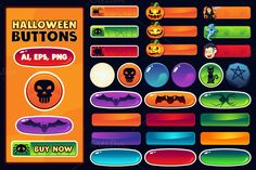 Halloween buttons for web and games by pixaroma on Creative Market