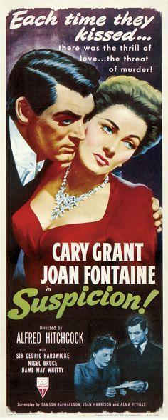 Suspeita! Um filme de Alfred Hitchcock com Cary Grant e Joan Fontaine. O charmoso apostador Johnnie Aysgarth corteja num trem a rica e tímida Lina McLaidlaw, que foge e casa com ele apesar da desaprovação do pai. Quando um amigo de Johnnie morre, ela teme que o marido pensa em matá-la para ficar com sua herança.
