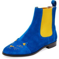 Charlotte Olympia Women's Cats Suede Chelsea Boot