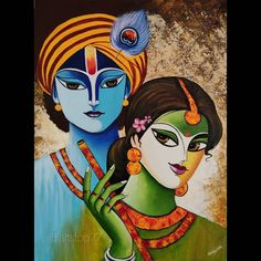 Radha Krishna Acrylic painting on Canvas. tutorial video for beginners ( link in bio). hope you like it. please like,share and comment 🤗 What I used: canvas size x Brustro Artists' Gold Talkon Brushes and Camlin Artists' Acrylic Colors . Buddha Painting, Krishna Painting, Madhubani Painting, Krishna Art, Watercolor Paintings Nature, Indian Art Paintings, Modern Art Paintings, Buddha Kunst, Buddha Art