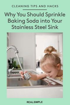 Why You Should Sprinkle Baking Soda into Your Stainless Steel Sink | Learn how to correctly clean a stainless steel sink with a few simple steps and using a few household supplies. Plus, you can skip the harsh cleaners and help make your cleaning routine more eco-friendly. #organizationtips #realsimple #howtoclean #cleaningtips #cleaninghacks