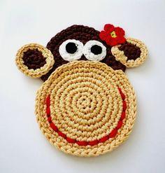 Crochet Coasters - Mr. and Mrs. Monkey.  via Etsy.
