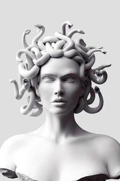 sculpture art ~ color the snakes ~ color flowers in hair ~ color red lip Medusa Kunst, Medusa Art, Medusa Painting, Medusa Drawing, Medusa Gorgon, Modern Sculpture, Sculpture Clay, Roman Sculpture, Bronze Sculpture