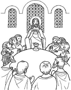 Holy Thursday: The Last Supper coloring page Jesus Coloring Pages, Easter Coloring Pages, Free Printable Coloring Pages, Coloring Pages For Kids, Coloring Books, Gingerbread Man Coloring Page, La Passion Du Christ, Holy Thursday, Catholic Crafts