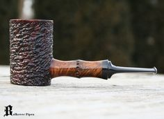 Pipe Pictures - Briar Pipes by Mark Balkovec  Hand Carved Bamboo shank, shown with brown bowl and chipped carve finish