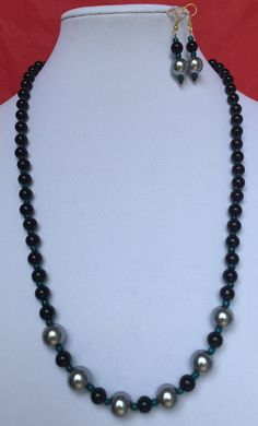 Necklace Earrings Set/Glass Pearl/GreenBlack by MyCreationsDesigns