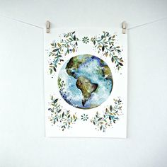 World Art Print | Globe | Earth | Watercolor Painting by WirebirdStudio, $10.00