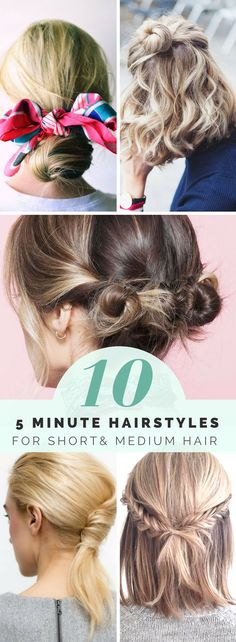 Quick and easy hairstyles for short hair you can do in 5 minutes. Effortless braids to cute buns, make your morning routines a breeze with these 10 5-minute hairstyles for short hair and medium hair.