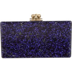 Pre-owned Edie Parker Jean Solid Clutch ($515) ❤ liked on Polyvore featuring bags, handbags, clutches, lucite purse, pre owned handbags, glitter handbag, edie parker clutches and blue purse