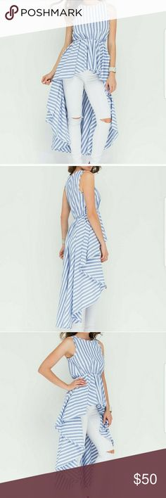 Striped peplum high low top sleeveless top features a beachy striped pattern, a boatneck, and a dramatic high-low peplum skirt. Finished with an elasticized waistband.   High quality materials  100% Cotton Sizes: Small-large Tops Blouses