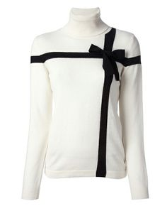 Fairest of Them All: Love Moschino bow detail sweater with ribbed roll neck, $407.