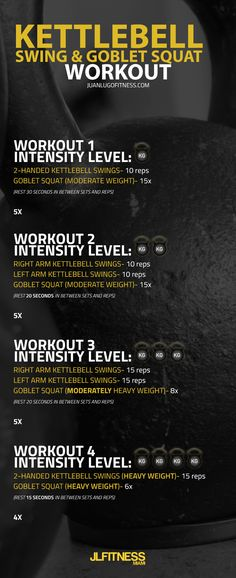 A #kettlebell swing and a goblet squat are the perfect pairing for a total body conditioning workout with a focus on the lower body. Here are four short, but purposeful workouts that you can do. Workout #1 is the easiest and it gets progressively more dif https://www.kettlebellmaniac.com/kettlebell-exercises/