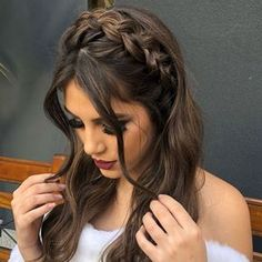 12 Easy Braids For Long Hair - Frisur ideen - Cheveux Box Braids Hairstyles, Pretty Hairstyles, Elegant Hairstyles, Half Braided Hairstyles, Updos Hairstyle, Style Hairstyle, Formal Hairstyles, Dark Brown Long Hair, Half Up Half Down Hair Prom