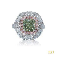 HYT Jewelry. Natural Fancy Yellowish Green 2.27cts Diamond ring. #verdurecollection #hytjewelry #hongkong #tokyo #gia #naturalfancycolordiamond #greendiamond #pinkdiamond