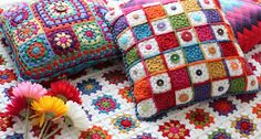 According to Matt...: Granny Square Button Cushion