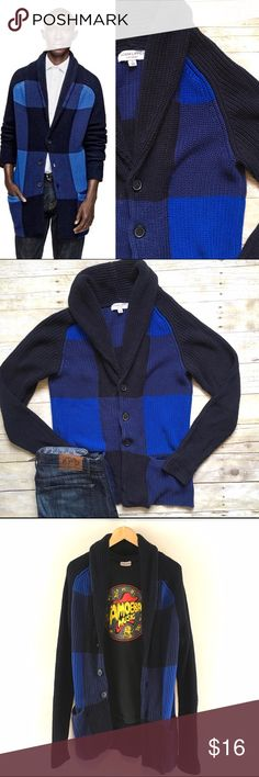 Men's Adam Lippes Colorblock plaid shawl cardigan The grandpa sweater gets a dapper twist when teamed with a large blue plaid print. In excellent condition. Limited run for Target by Adam Lippes. In excellent condition. Size Small. Adam Lippes Sweaters Cardigans