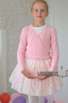 "Вязаная спицами нарядная юбка для девочки ""Красавица балерина"""