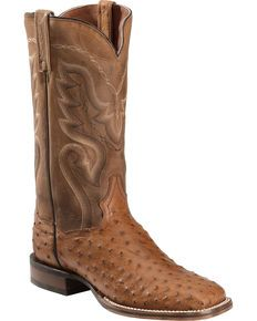 Dan Post Chandler Full Quill Ostrich Cowboy Boots - Square Toe, Saddle Brown, hi-res Cowboy Boots Square Toe, Cowgirl Boots, Moto Boots, Shoe Boots, Shoes, Wardrobe Images, Ostrich Boots, Western Boots For Men, Cowboy Outfits