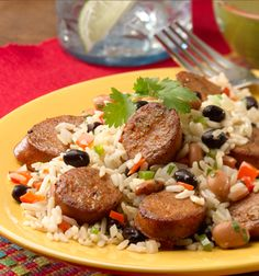 cuban beans and rice with chipotle chorizo chicken sausage#EasyCajun with #JohnsonvilleSausage