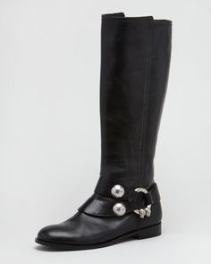 ShopStyle: Alexander McQueen Skull-Bridle Flat Boot