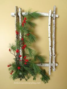Natural White Birch and Evergreens with Winterberry Woodland Wreath for Christmas at AnExtraordinaryDay.net