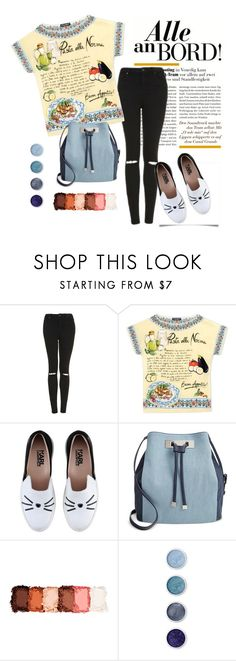 """""""Statement Pieces: Printed Shirt and High Waisted Jeans"""" by josehline on Polyvore featuring Topshop, Dolce&Gabbana, Karl Lagerfeld, INC International Concepts, NYX and Terre Mère"""