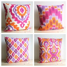One ikat pillow cover in contemporary colours of orange, fuchsia, purple and violet on a white background. A modern ikat print on a beautiful soft