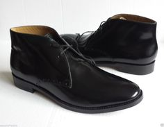 COLE HAAN men size 10.5 Cambridge Chukka Black Shiny #leather boots NIB  ColeHaan visit our