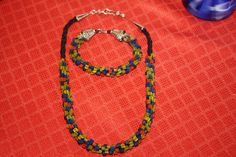 KUMIHIMO NECKLACE and BRACELET Set by anafili on Etsy, $40.00
