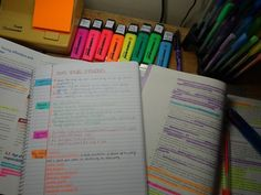 Study tip: when key coding your highlighters, label them so you wont forget what each color represents while note taking.