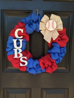 A personal favorite from my Etsy shop https://www.etsy.com/listing/235364988/chicago-cubs-wreath-cubs-baseball-wreath