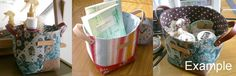 Fabric basket with leather handles - Kimono Flower in yellow green and orange. $16.89, via Etsy.