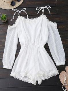Kenancy Women Tie Shoulder Lace Trim Rompers Long Sleeves Cut Out Tunic Playsuits Summer Spring Jumpsuits Female Overalls - Kenancy Women Tie Shoulder Lace Trim Rompers Long Sleeves Cut Out Tuni – cigauy Source by - Cute Summer Outfits, Cute Casual Outfits, Pretty Outfits, Casual Dresses, Teen Fashion Outfits, Mode Outfits, Girl Fashion, Girl Outfits, Ladies Fashion
