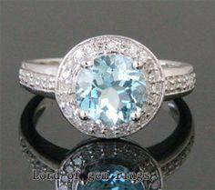 2.11ct Aquamarine .21ct Diamond 14K White Gold Pave by ThisIsLOGR, $431.00