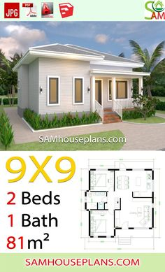 House Plans with 2 Bedrooms Hip Roof - Sam House Plans Simple House Plans, House Layout Plans, Basement House Plans, Dream House Plans, House Floor Plans, 2 Bedroom House Plans, Bungalow Haus Design, Modern Bungalow House, Bungalow House Plans