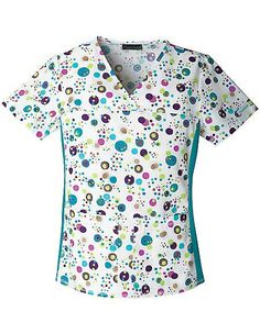 Style Code: (CH-1745BB) Another collection from Cherokee is the Flexibles Bubbly Personality V-neck Knit Panel Top. Polka dots within a dot over a white 65/35 Brushed Poly/Cotton Poplin fabric are its print. This v-neck princess line top features a front yoke and matching stretchy knit side panels for more comfort and a slimming look. Patch pockets are designed in this short sleeve top for storing essential work tools.