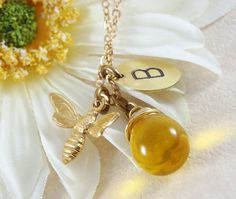 Bee Necklace Bee Jewelry Bumble Bee  Bee by FallenLeafJewelry