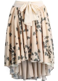 Apricot Leaves Print High Low Pleated Skirt US$36.33