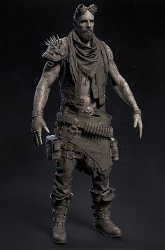 Wasteland warrior, Nukey Hsieh on ArtStation at https://www.artstation.com/artwork/Kkxn4