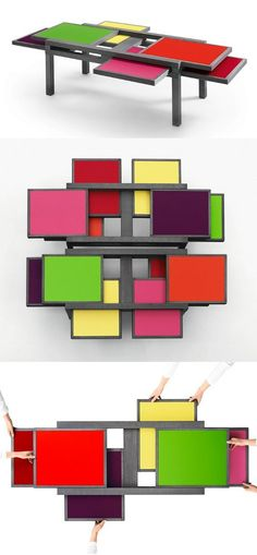 Low coffee table HEXA by SCULPTURES JEUX by Eppis - Bernard Vuarnesson