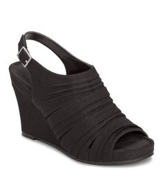 Loving this Aerosoles Black Plush On You Sandal on #zulily! #zulilyfinds