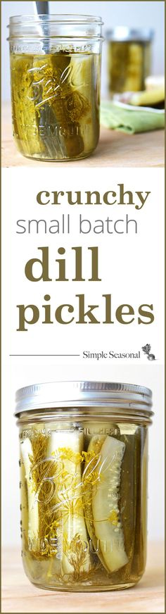 "Crunchy Small Batch Dill Pickles - This canning recipe for dill pickles shows you how to get that classic pickle ""crunch"" and aims to take away all your excuses for not trying your hand at canning yet. Small batch proportions give you the chance to experiment without having to fill your cupboard with dozens of jars of pickles!"