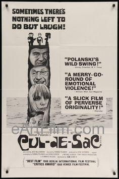 Happy Birthday #DonaldPleasence https://eartfilm.com/search?q=donald+pleasence #actors #Broadway #Halloween #JamesBond #RomanPolanski Cul-De-Sac 1967 27x41 Original Movie Poster Roman Polanski Classic