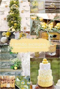 Decoração de Casamento Paleta de Cores Amarelo Limão Siciliano | Inspiration Board Wedding Lemon