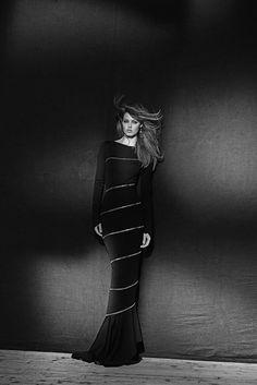 Bodenlanges Kleid, Couture Frühjahr/Sommer 2003 (Wolljersey und versilberter Reißverschluss)